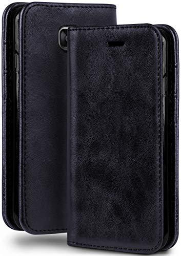 moex Booklet in Lederoptik - Kartenfächer & Aufstellfunktion kompatibel mit Samsung Galaxy A5 (2016) | Eleganter 360 Grad Vollschutz, Dunkel-Blau