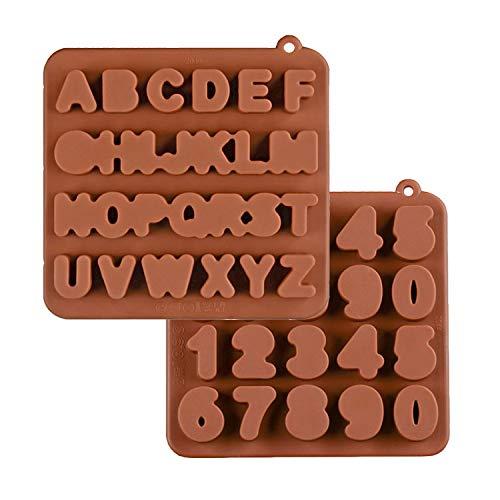 KBstore 2 Pack Moldes de Bombones de Silicona - Forma de Letras Numeros Molde de Silicone para Chocolate/Caramelo de Café/Cubo de Hielo/Gelatina