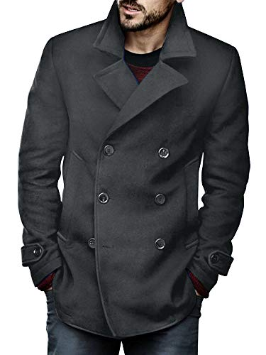 Makkrom Mens Lightweight Pea Coat Thin Slim Fit Double Breasted Cotton Half Fall Trench Coat Dark Grey