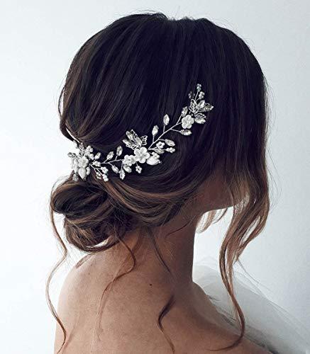 Unicra Braut Hochzeit Haarschmuck Weinrebe Silber Blume Stirnband Haarschmuck Kristall Braut Kopfschmuck für Frauen und Mädchen