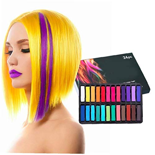 Set 24 Haar-Kreide-Temporäre Haarfarbe Ungiftiger Haarfarbe Crayon Farbe Stock für Halloween, Weihnachten, Party, Cosplay Frisur Werkzeug