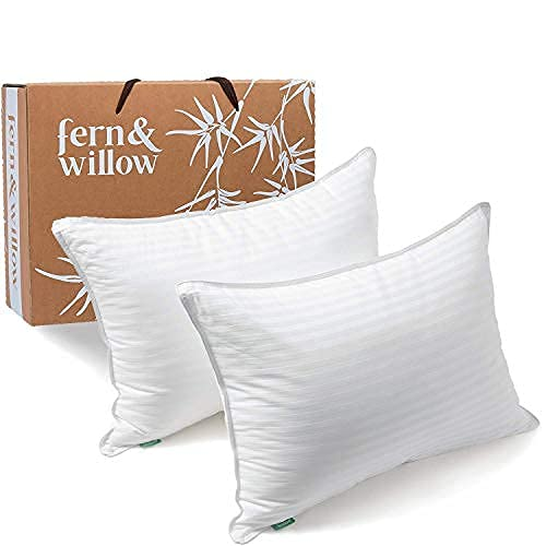 Fern and Willow Premium Loft Down Alternative Pillows for Sleeping (2-Pack) -...