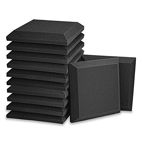 "12 Pack - Acoustic Foam Panels, 2"" X 12"" X 12"" 3D Beveled Square Studio Wedge Tiles, Sound Panels wedges Soundproof Sound Insulation Absorber"