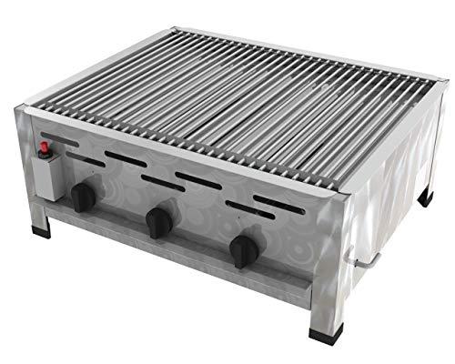 ChattenGlut Professional Gastrobräter 3-flammig - Tischgerät aus Edelstahl mit Edelstahlbrenner - 13,5 kW,...