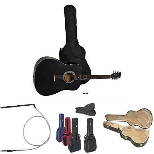 Navarra NV31 Guitarra acústica con bolsillo + Fuego Piedra 941712P-1pastilla piezo para guitara acustica + Gewa Funda de Guitarra para guitarra folk + GEWA Estuche para guitarra folk de 6 cu