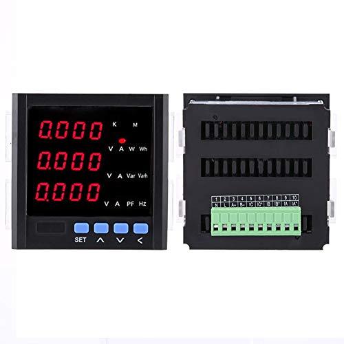 3-Phasen Wechselstrom Amperemeter LED Programmierbarer 1A/5A/10A Spannung 57,7 V / 100 V / 220 V / 450 V / 600 V Mit RS-485 Kommunikationsrelaisalarm(Black)