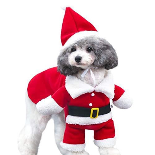 2020 Decoración de Navidad personalizable, ropa de mascota traje de perro disfraces de Navidad con sombrero de Papá Noel cómodo encantador mascota abrigo con capucha