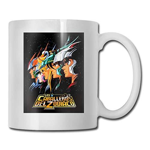 N\A Los Caballeros del Zodiaco Home Taza de té de cerámica para Oficina Taza de café Blanco 11 oz