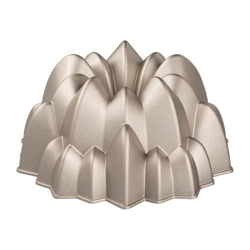 Erreke – Molde para Tartas, Molde Bizcocho Antiadherente, Aluminio Fundido Muy Resistente, Color Oro Rosa, 24x24x10cm, Forma de Cascada.