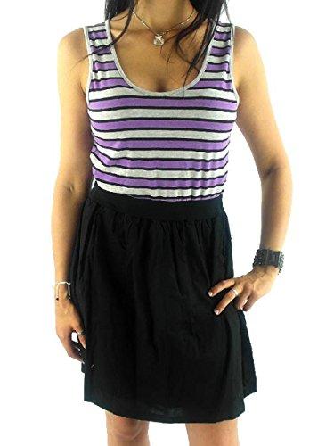 Vila zomerjurk dragerjurk shirt streep elastisch paars zwart 14005124