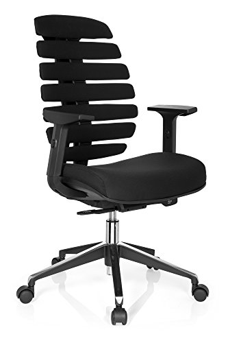 hjh OFFICE 714500 Profi Bürostuhl Ergo LINE II Stoff Schwarz Drehstuhl, ergonomische Rückenlehne, Lordosenstütze