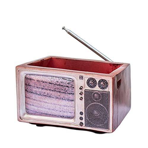 Jardinera en forma de radio, decoración de mesa de resina retro, diseño único de grabadora, jarrón suculento en forma de radio, contenedor de decoración de mesa para el hogar