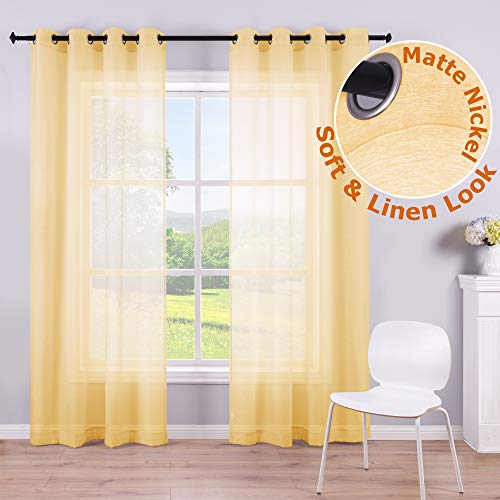 Yellow Sheer Curtains 84 Inches Long for Living Room Set of 2 Panels Grommet Faux Linen Soft Semi Transparent Voile Drape Window Sheer Curtains for Bedroom Boys 52x84 Length Solid Pair Bright Color