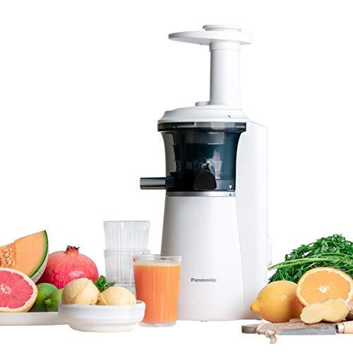 Panasonic Slow Juicer MJ-L501WXE Entsafter (Entsafter für Obst/Gemüse, Saftpresse, Sorbet Herstellung, Entsafter elektrisch, 150 W, weiß)