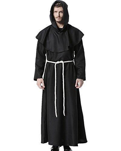 Priester Robe Mönch Mittelalterliche Kapuze Kapuzenmönch Renaissance Robe Kostüm (Schwarz) (Large)