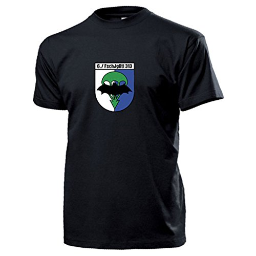 6./FschJgBtl 313 Fallschirmjägerbataillon Ausbildungs Kompanie Seedorf Bundeswehr BW AGA Wappen Abzeichen Emblem Fallschirmjäger - T Shirt Herren #14060