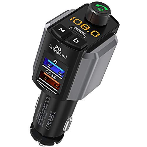 [2021 Versión] LENCENT Transmisor FM Bluetooth V5.0, Tipo C USB-C PD 18W y QC3.0 Carga rápida, Manos Libres para Coche, Reproductor MP3 Mechero Coche Adaptador de Radio Soporte U Disk