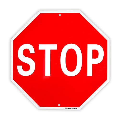 Stop Sign Street Slow Warning Reflective Signs 12'x 12' 40 Mil Rust Free Aluminum Sign, UV Protected and Weatherproof