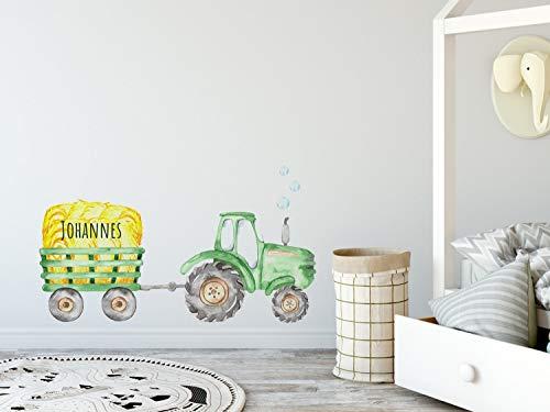 GRAZDesign Wandtattoo Trecker Kinderzimmer Junge Grün, Traktor mit Anhänger und Namen, Babyzimmer personalisiert, Entfernbare Wandsticker / 70x40cm