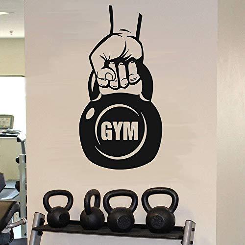 wZUN Fitness Wandtattoo Kettlebell Übung Körpersport inspirierende Vinyl Aufkleber Fitnessstudio Trainingsraum Innenraum 42X81cm