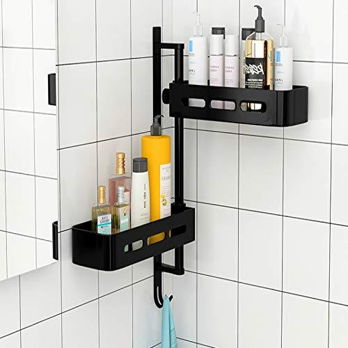 BECCYYLY Estante de baño para baño, montaje en pared sin perforaciones
