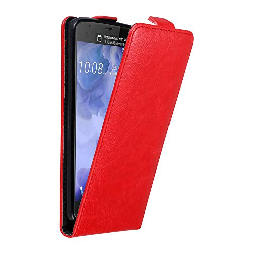 Cadorabo Hülle für HTC U Ultra in Apfel ROT - Handyhülle im Flip Design mit Magnetverschluss - Hülle Cover Schutzhülle Etui Tasche Book Klapp Style