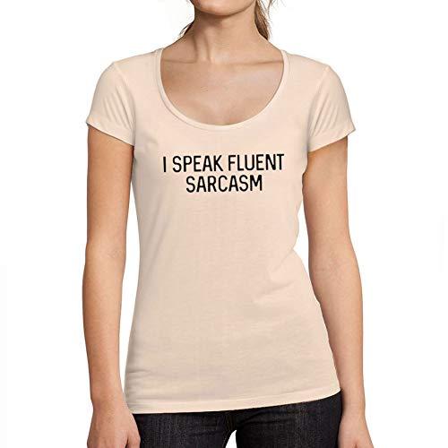Ultrabasic - Camiseta de Mujer con Cuello Redondo Escotado Je Parle Couramment le Sarcasme Cremoso Rosa