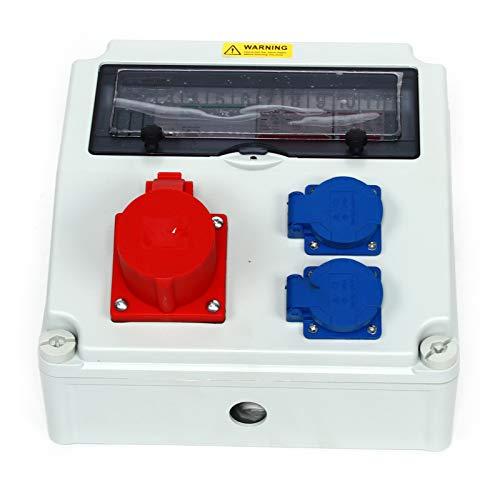 Wandverteiler CEE 16A + 230V + FI Stromverteiler Baustromverteiler Feuchtraumverteiler 2-6 IP44 Stromverteiler zur Wandbefestigung 16A
