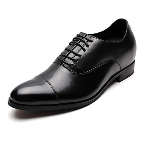 CHAMARIPA Oxford Aumentar Zapatos Elevador de Altura Zapatos de Negocios de Cuero de los Hombres Vestir Cordones Que Aumentan La Altura - 2.76 Pulgadas Taller X92H38