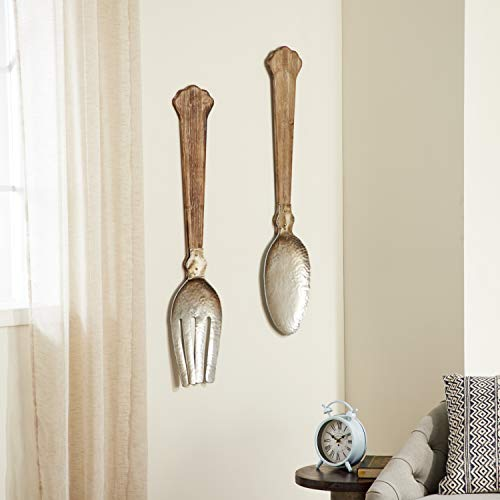 Deco 79 44454 Wood and Metal Utensil Wall Decor (Set of 2), Brown