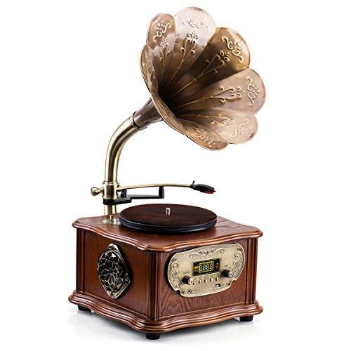 HOFEINZ 天然木材 蓄音機 純銅ホーン 工芸品 マルチレコードプレーヤー/Bluetooth4.2 /USB/FM ラジオ