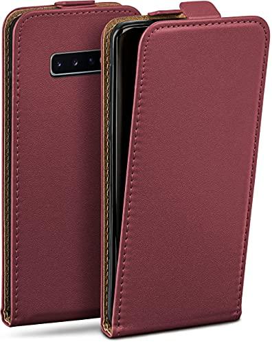 moex Flip Hülle für Samsung Galaxy S10 Hülle klappbar, 360 Grad R&um Komplett-Schutz, Klapphülle aus Vegan Leder, Handytasche mit vertikaler Klappe, magnetisch - Weinrot