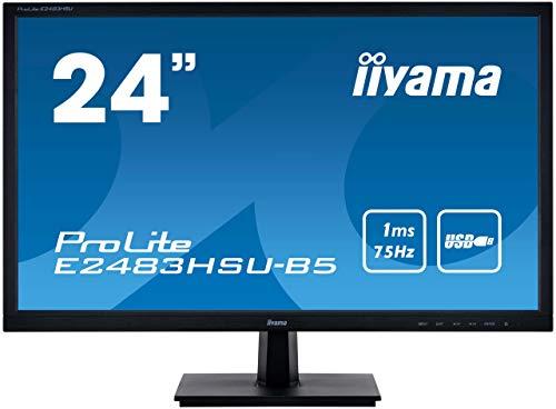 iiyama ProLite E2483HSU-B5 61cm (24 Zoll) LED-Monitor Full-HD (VGA, HDMI, DisplayPort, USB2.0) schwarz