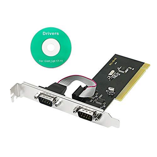 CERRXIAN Tarjeta de expansión PCI a 2 puertos serie DB9 conectores de puerto serie PCI a 2 puertos serie COM 9 pines RS232 adaptador de tarjeta