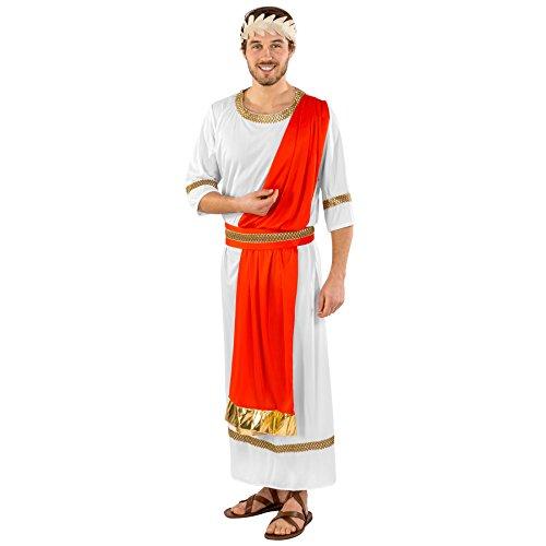 dressforfun Disfraz para Hombre Emperador Romano Rey | Túnica con Corona de Laurel Dorada y cinturón Rojo con Ribetes Dorados (XXL | no. 300470)