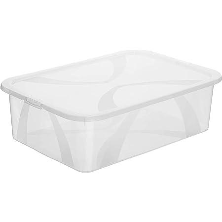Rotho Arco Boîte de Rangement 29L avec Couvercle, Plastique (PP) sans BPA, Transparent, 29L (57,1 X 39,2 X 16,6 cm)
