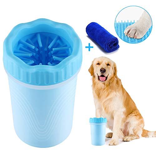 Hondenpootreiniger, Draagbare Hondenpoot Washer Cup Pet Reinigingsborstel Cup Zachte Siliconen Borstel Hondenvoeten Wasmachine met Handdoek, Ideaal voor het reinigen van Modderige Hondenpoot