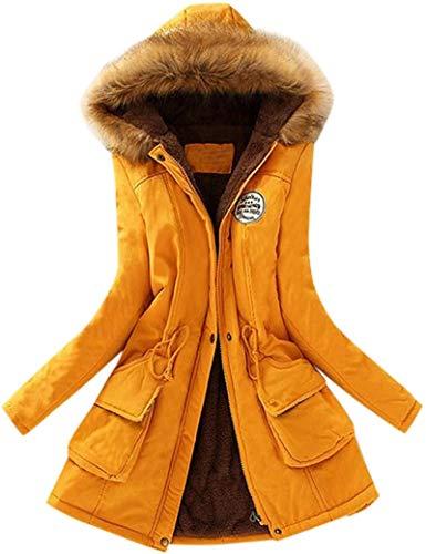 Women's Fashion Winter Warm Faux Fur Collar Hooded Long Sleeve Jacket Parka Outwear Coats