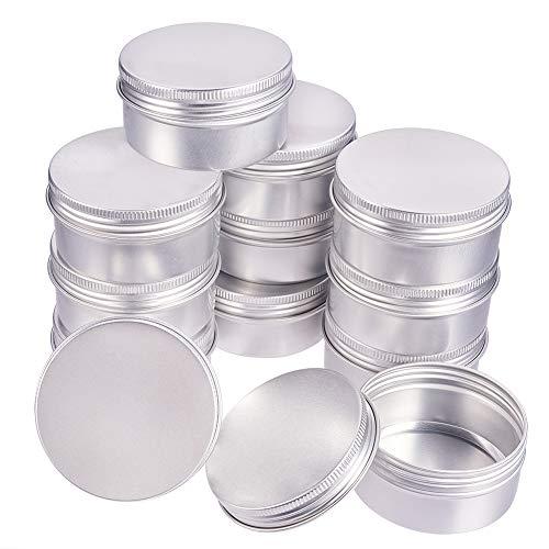 BENECREAT 12 Stücke 80ml Aluminiumdose Gläser, Runde Aluminiumdose Kosmetikbehälter mit Schraubverschluss Deckel für DIY Handwerk Travel Storage-Platinum