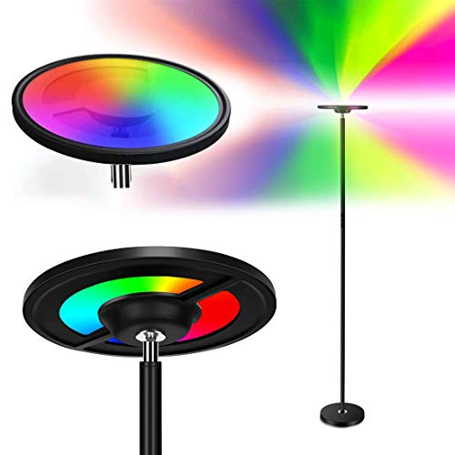 Smart WiFi LED Floor Lamp, OHLUX Color Changing Floor Lamp, 2000Lumen Bright Music Sync Touch Torchiere, Compatible with Alexa Google Home for Bedroom Living Room DIY, 25W Black 66.2inch Tall