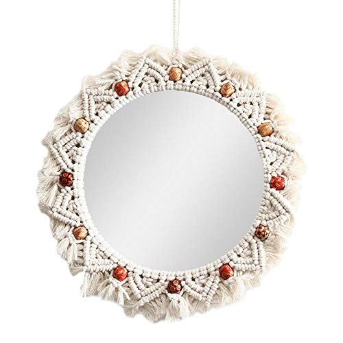 Hanging Wall Mirror with Macrame Fringe Boho Round Mirror Handmade Decoration for Apartment Living Room Bedroom