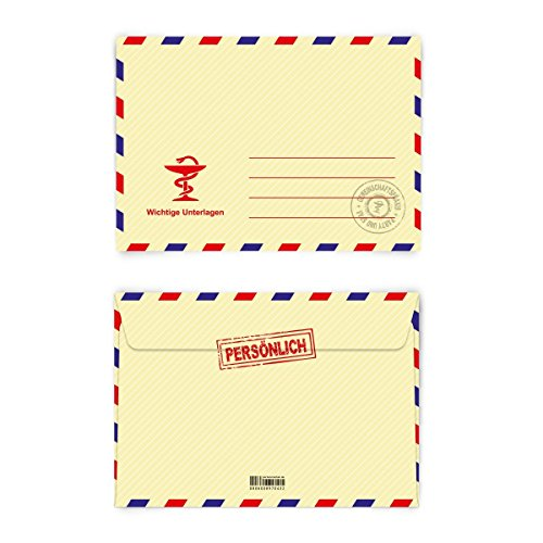 Briefumschläge (30 Stück) DIN-C6 - Krankschreibung Briefumschlag Krankmeldung mit Motiv Kuvert selbstklebend