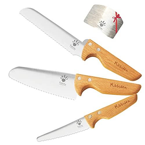 KIBBIDEA Kids Knife Set for Cooking 4pcs - Light-weight Stainless Steel Kids Safe Knife Set - Kids Friendly Knife for Kids Kitchen Gifts