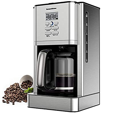 12 Cups?60Oz? Programmable Stainless Steel Coffee Makers Machines w Timer Built in Hot Preservation Board Coffee Pot with Glass Carafe Permanent Filter Basket 1.8 L