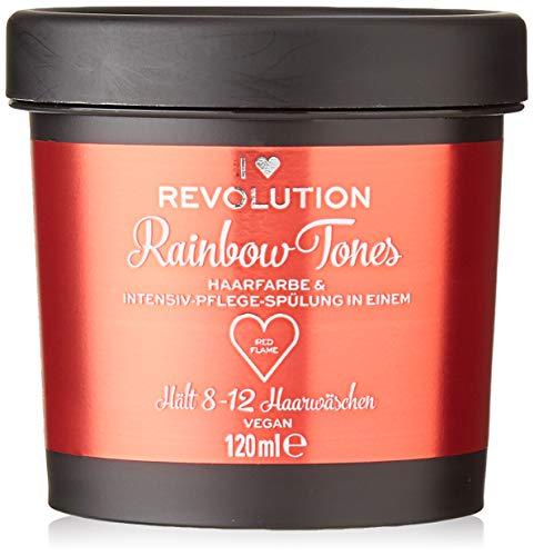 I Heart Revolution Rainbow Tones Red Flame – Tinte para el cabello semi permanente y acondicionador en uno – lavable con 8-12 lavados – vegano, reutilizable – 120 ml