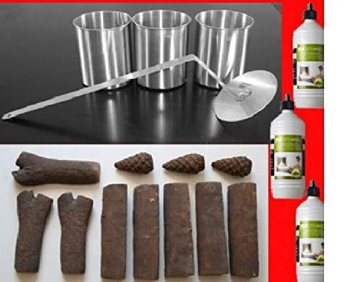 DeLux Starterset voor ethanol open haarden, keramiek hout, roestvrij staal, blikjes