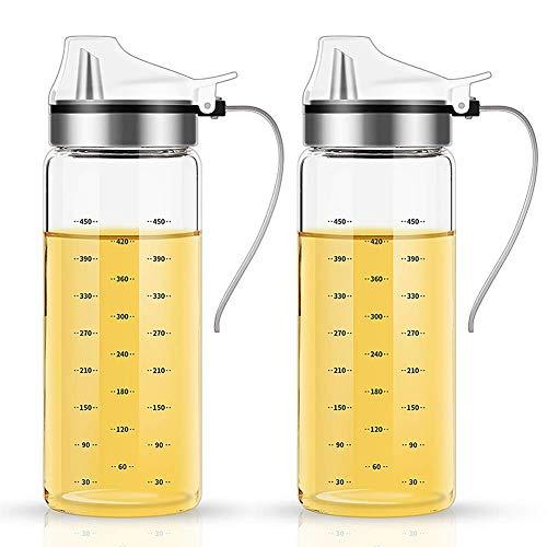 FARI butelki z dozownikiem na oliwę z oliwek - 2 sztuki 500 ml, bezołowiowy szklany olej do gotowania octu miarka zestaw z uchwytem do kuchni i grilla (2, 500 ml)