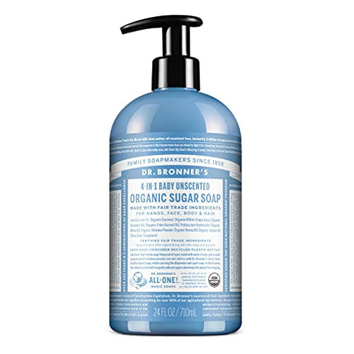 Dr. Bronner's - Organic Sugar Soap (Baby Unscented, 24 Ounce) - Made with Organic Oils, Sugar and Shikakai Powder, 4-in-1 Use: Hands, Body, Face and Hair, Moisturizes and Nourishes, No Added Fragrance