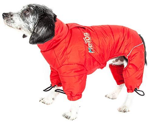 DOGHELIOS 'Thunder-Crackle' Full-Body Bodied Waded-Plush Adjustable and 3M Reflective Pet Dog Jacket Coat w/ Blackshark Technology, Small, Grenadine Red
