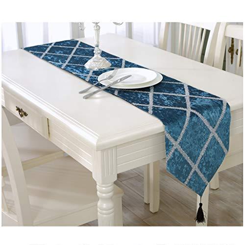 Bandera de la mesa, Bandera del gabinete, Mantel, Bandera de la cama, Simple, Moderno, A rayas, Seda brillante, Flash, Mesa de centro, Colgante de la mesa de comedor ( Color : Blue , Size : 28*210cm )